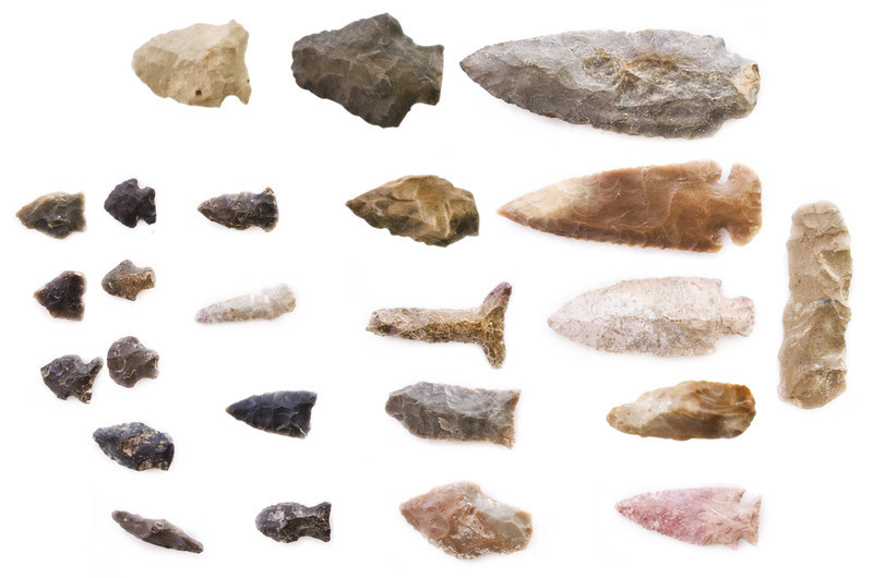 Chert stone arrowheads used by Native Americans